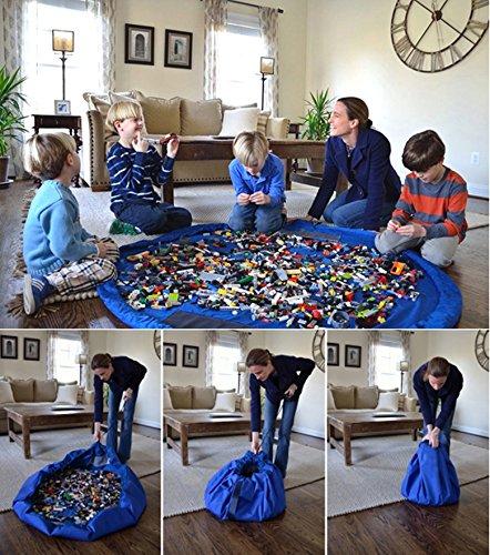 Kids Toys Organizer Bin Rug Play Mat Toy Storage Bag Container Blue Large