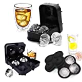 3 Pack Flexible Silicone Ice Cube Tray Ice Ball Maker for Whiskey 3D Diamond Ball Skull Ice Cube Mold Set for Whiskey Cocktails