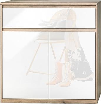CS Schmalmöbel 75.185.147/23 Grifflose Kommode Soft Plus Smart Typ 23, 45 x 106 x 110 cm, sanremo hell/weiß hochglanz