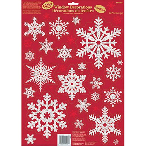 Amscan Glittery Snowflake Vinyl Window Clings