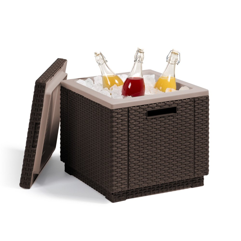 Allibert Kühlbox Beistelltisch inkl. Kühlakku Ice Cube Rattanoptik braun jetzt bestellen