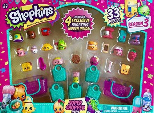 Shopkins Season 3 Super Shopper Pack, Includes 4 Exclusive Shopkins Hidden Inside - Characters May Vary (33 Pieces) JungleDealsBlog.com