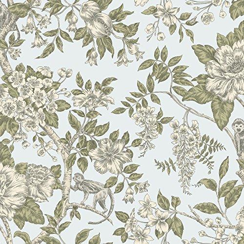 Farbige Tapete Oder Streichen : Blumen Muster Blumenbl?tter Affen Tapete – Entenei Blau 98114