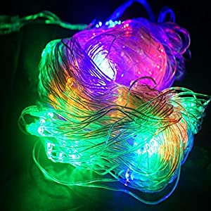 3*2M 210Led Waterproof XMAS String Net Fairy Lights UK Plug with fuse Waterproof Controller safety design Suit for Indoor&Outdoor Wedding Christmas Party Room Garden 8 Modes Multicolor from Generic