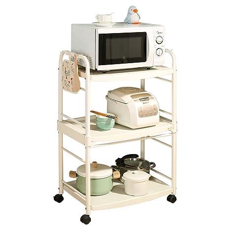 Artículos de uso doméstico Estante del mueble de la cocina del estante de la cocina del estante de la cocina del estante de 3 gradas de los niveles con el rodillo, blanco de marfil (L62 * W39 * H97cm) -CRS-ZBBZ