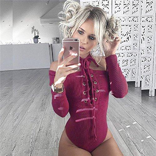 XJoel femminile rugiada spalla maniche corte T-shirt Claret-rosso