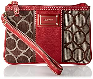 Nine West 9S Jacquard Wristlet,Brown Multi,One Size