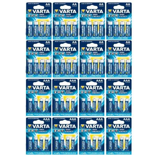 Papier-Kohler-Set Varta High Energy Lot de 64 piles alcalines 32 x Mignon AA + 32 x Micro AAA