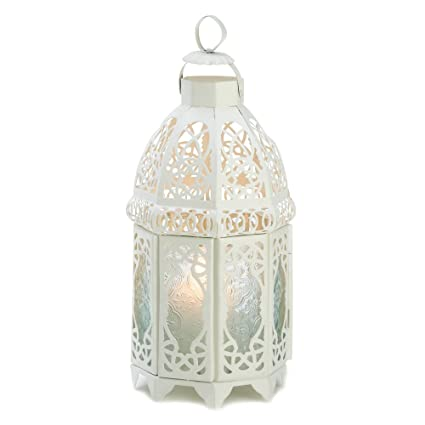White Lattice Hanging Candle Holder Lantern Centerpiece by Gifts & Decor