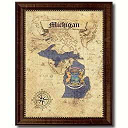 Michigan State Vintage Map Flag Art Custom Picture Frame Office Wall Home Decor Cottage Shabby Chic Gift Ideas