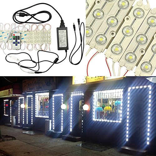 GOESWELL LED Store front Light Cool White 3led 5630 LED Injection Module Advertising Light with Mini RF Remote Dimmer and 12V 6A Power package (Led Module Display compare prices)