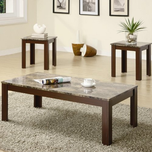 3pc Coffee Table and End Tables Set with Marble Top in Brown Finish