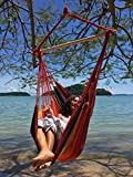 Large Brazilian Hammock Chair by Hammock Sky(TM) - Quality Cotton Weave for Superior Comfort & Durability - Extra Long Bed - Hanging Chair for Yard, Bedroom, Porch, Indoor / Outdoor (Hot Colors)