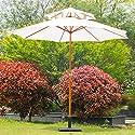 Parasol en bois peuplier droit 2 toit polyester 180g/? ?2.7*H 2.6m très esthétique et robuste blanc neuf