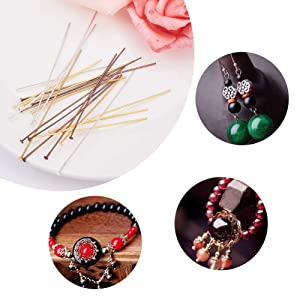 PH PandaHall About 300pcs 3 Size Gold Silver & Red Copper Iron Headpins Jewelry Making Findings (50mm, 60mm, 70mm) (Color: 3 Size 3 Color - About 300pcs)