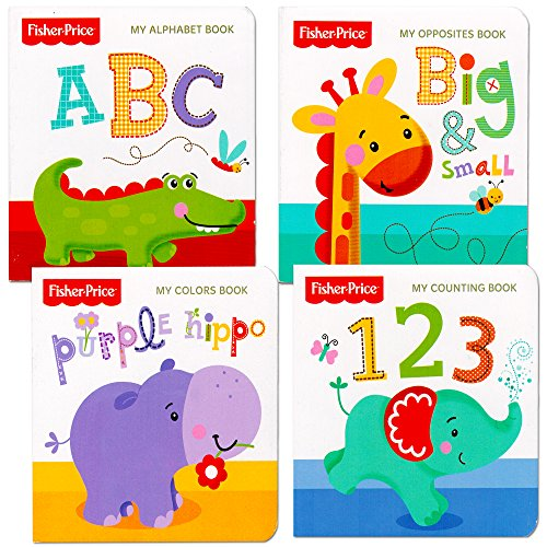 Fisher-Price-My-First-Books-Set-of-4-Baby-Toddler-Board-Books-ABC-Book-Colors-Book-Numbers-Book-Opposites-Book