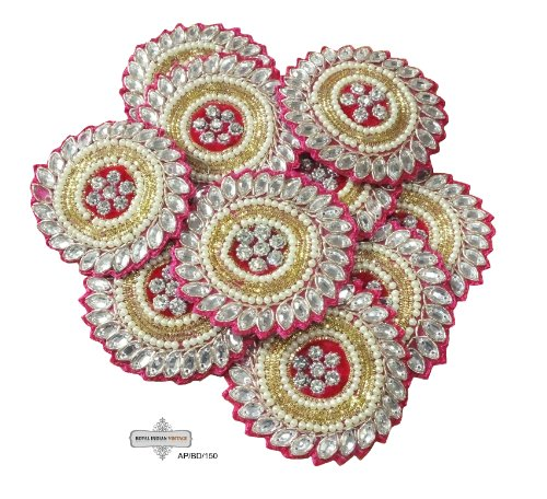 Traditional Applique Hand Crafted Round Shape Bridal Appliques Sewing Indian Beaded Crafted Costume Patches Handmade 2 Pcs. Patch