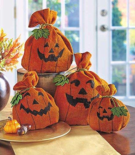 Burlap Pumpkin Set of 4 Halloween Decor Decorative Burlap Sacks