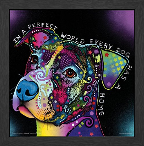 Dean Russo Dog World Quote Modern Animal Decorative Art Poster Print, Framed 12x12 (Dean Quotes compare prices)