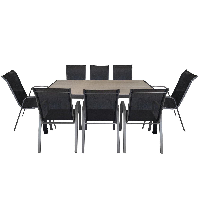 9tlg. Gartengarnitur Aluminium Polywood Gartentisch 205x90cm + stapelbare Gartenstühle Stapelstuhl mit Textilenbespannung Gartenmöbel Terrassenmöbel Sitzgruppe Sitzgarnitur