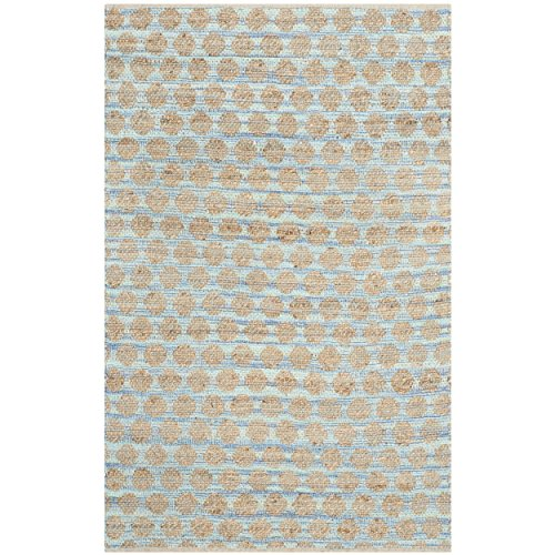 Safavieh Cape Cod Collection CAP820B Hand Woven Blue and Natural Cotton Area Rug, 4 feet by 6 feet (4' x 6')
