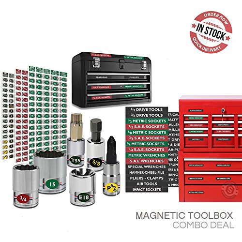 Magnetic Toolbox Labels plus Socket Labels Master Set for Metric, Torx & SAE tools, fits all Craftsman, Snap On, Mac Tools and Tool Chest Steellabels.com - Combo Deal - 303 labels
