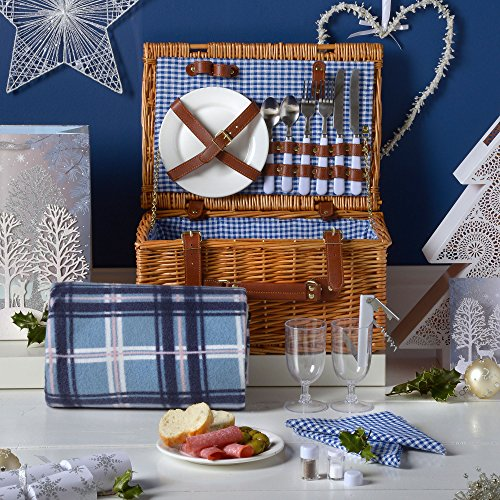 VonShef Deluxe 2 Person Traditional Wicker Picnic Basket Hamper with Cutlery, Plates, Glasses, Tableware & Fleece Blanket 1