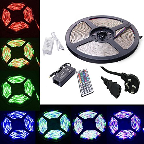 Amars(Tm) Super Beautiful 5M(16Ft) Rgb Waterproof 5050 Led Light Kit 300Leds Flexible Led Strip Changedble Color Mixed Cool White With 40 Keys Diy Remote Controller + 12V 5A Power Supply For Home Lighting Party Wedding Holiday Decoration