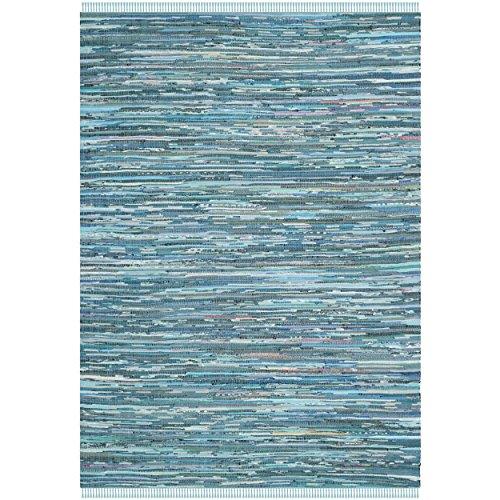 Safavieh Rag Rug Collection RAR121B Hand Woven Blue and Multi Cotton Area Rug, 6 feet by 9 feet (6' x 9')