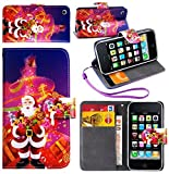 Magic Global Gadgets - PURPLE/SANTA & PRESENTS Christmas Wallet Flip Book Pouch Card Money Slot Case Cover For Apple iPhone 3 3G 3GS With Screen Guard + Stylus Pen + Wrist Strap & Built in Media Stand
