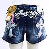 [レッドペッパージーンズ]REDPEPPERJEANS 正規品#5753 クロス 十字架 バックロゴ 刺繍 ショートパンツ ショーパン 短パン ホットパンツ レディース RED PEPPER JEANS デニム パンツ ジーパン ブランドジーンズ ファッション