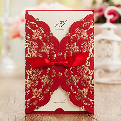 Wishmade 50x Red Laser Cut Wedding Invitations Cards with Lace and Hollow Flowers Baby Shower Bridal Shower Engagement Birthday Fancy Party Favors(set of 50pcs)CW5113