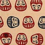 Tela beis con textura muñecos Daruma de Cosmo Japón