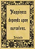 Pack of 12 Parchment Gift Tags 7cm x 4.5cm each Quotation Aristotle Happiness