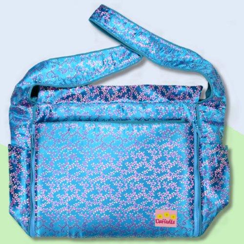 Blue Flowers Silk Boutique Diaper Bag front-296539