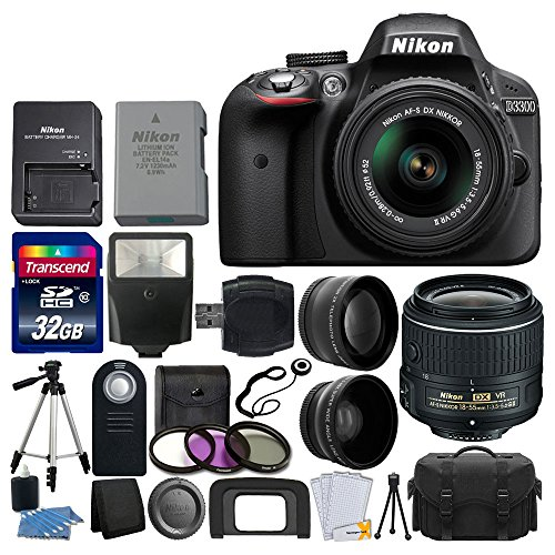 Nikon-D3300-242-MP-CMOS-Digital-SLR-Camera-18-55mm-VR-II-Zoom-Lens-2x-Professional-Lens-HD-Wide-Angle-Lens-Filter-Kit-32GB-Accessory-Bundle-20-Items-International-Version-No-Warranty