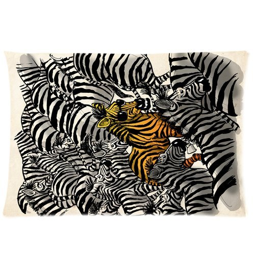 Generic Custom Grey And Yellow Zebras Printed Zippered Pillowcase Cushion Case 20*30(One Side) front-929002