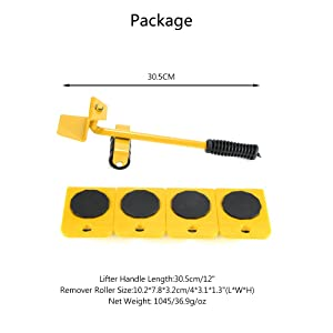 Furniture Transport Tools, ONEVER Furniture Lifting and Moving Tool Set for Heavy Furniture & Appliance Lifting 1 Lifting Rod and 4 Furniture Moving Rollers (Yellow) (Color: Yellow, Tamaño: Small)
