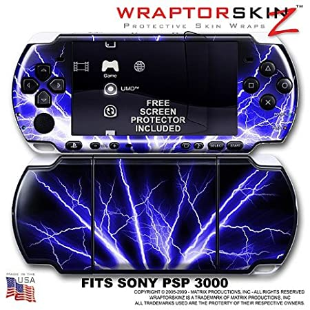 Lightning Blue WraptorSkinz Skin and Screen Protector Kit fits Sony PSP 3000