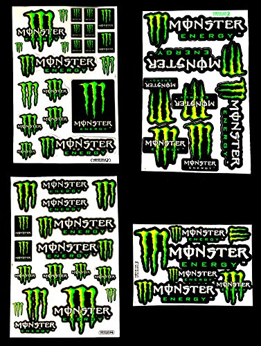 4 Monster Energy Drink Stickers Sheet for Helmet Bike Dirt Bike Atv Skateboard Motorcross Car Decal Automotive Exterior Accessories Decals Bumper Stickers Decals Car Truck Motor Racing Bike No.1 (Monster Energy Dirt Bike compare prices)