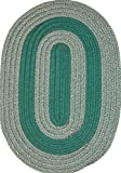 Veranda Patio 4' x 6' Oval Braided Rug in Hunter & Tan Tweed