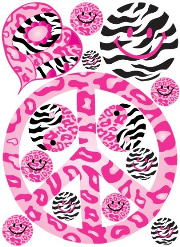 60s Pink Peace Sign Leopard, Cheetah, and Zebra Print Wall Decals / Stickers