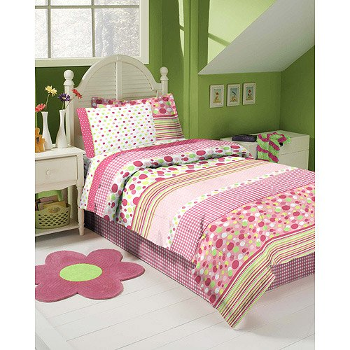 Lime Green And Pink Bedding: Discount Pink, White & Lime Green Gingham Polka Dot Twin
