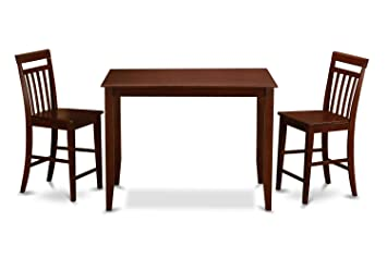 East West Furniture BUEW3-MAH-W 3-Piece Gathering Table Set, Mahogany Finish