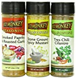 Red Monkey Foods Spicy Seasoning- Chili Cilantro-Stone Ground Spicy Mustard-Smoke Paprika and Roast Garlic, 3 Piece Gift Set,