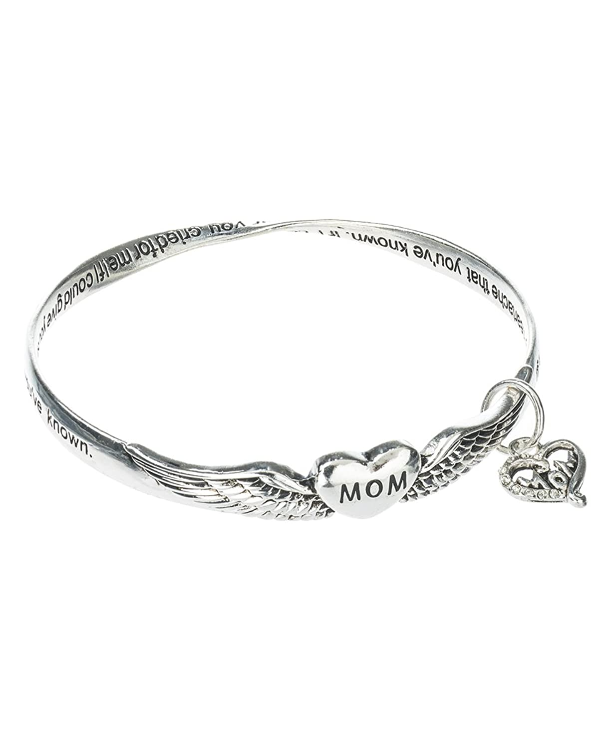 Silver-tone Mothers Prayer Twist Engraved Bangle Bracelet with Mom Charm Prayer Card Included