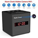 Alarm Clock Camera WiFi,FUVISION Wireless Speaker Covert Camera with Motion Detect,FM Radio,Night Vision,USB Charging Port,Touch-Activated Control,Aluminum Alloy Body Nanny Camera for Home Security