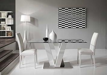 Ennio Tavolo fisso design 160x90 Cristallo Legno e Acciaio - Rovere Well