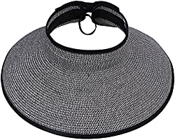 TAUT Women's Roll up Wide Brim Straw Hat Visor with Bow,Black-White