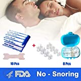 Anti Snore Devices Nasal Dilator 8Pcs Snoring Relief Nose Vents Anti-Snoring Aid Stop Snoring Breathe Right Nasal Strips 10Pcs for Better Sleep